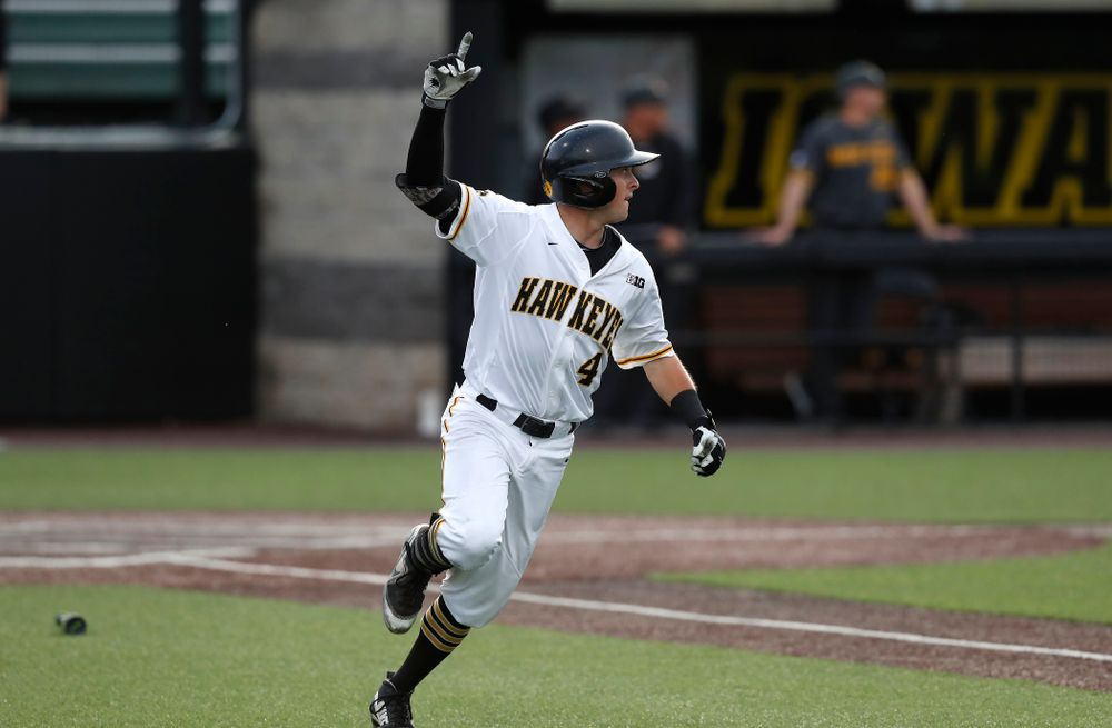 Iowa Hawkeyes infielder Mitchell Boe (4) hits a home run against the Missouri Tigers Tuesday, May 1, 2018 at Duane Banks Field. (Brian Ray/hawkeyesports.com)
