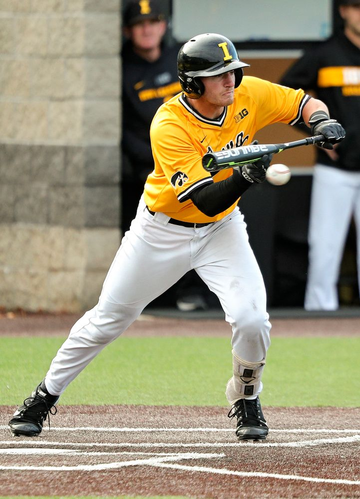 Iowa infielder Brendan Sher (2) lays down a bunt during the second inning of the first game of the Black and Gold Fall World Series at Duane Banks Field in Iowa City on Tuesday, Oct 15, 2019. (Stephen Mally/hawkeyesports.com)