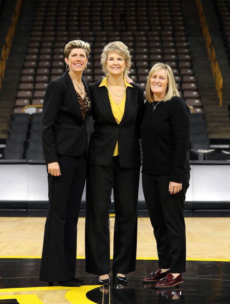 Iowa Hawkeyes associate head coach Jan Jensen, head coach Lisa Bluder, and special assistant to the Head Coach Jenni Fitzgerald during the teamÕs annual media day Thursday, October 24, 2019 at Carver-Hawkeye Arena. (Brian Ray/hawkeyesports.com)