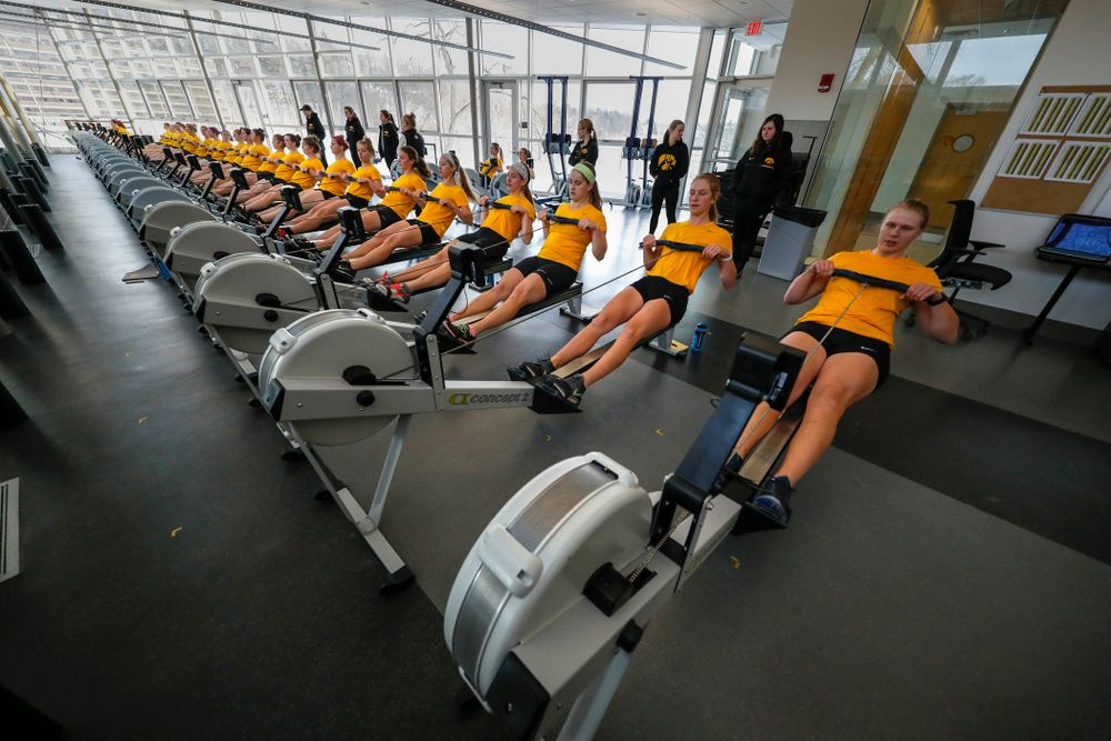 Members of the Iowa Rowing Team workout in the  P. Sue Beckwith, M.D., Boathouse Monday, February 12, 2018 in Iowa City. (Brian Ray/hawkeyesports.com)