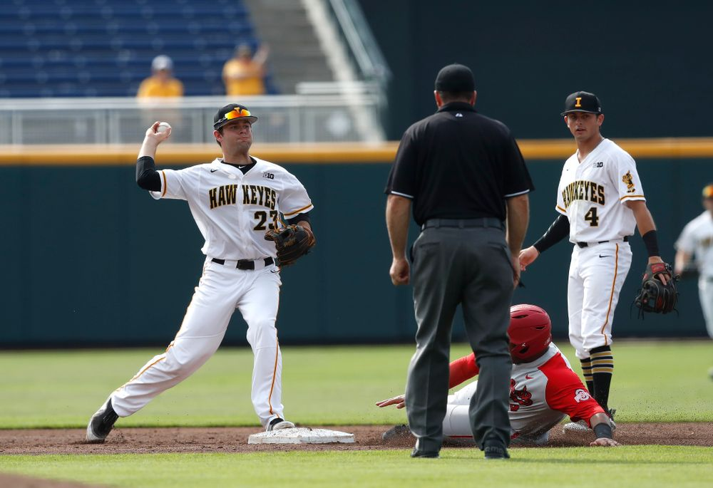 Iowa Hawkeyes infielder Kyle Crowl (23) turns a double play against the Ohio State Buckeyes in the second round of the Big Ten Baseball Tournament  Thursday, May 24, 2018 at TD Ameritrade Park in Omaha, Neb. (Brian Ray/hawkeyesports.com)