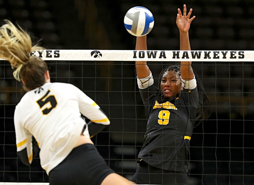 Iowa's Amiya Jones (9) during the third set of the Black and Gold scrimmage at Carver-Hawkeye Arena in Iowa City on Saturday, Aug 24, 2019. (Stephen Mally/hawkeyesports.com)