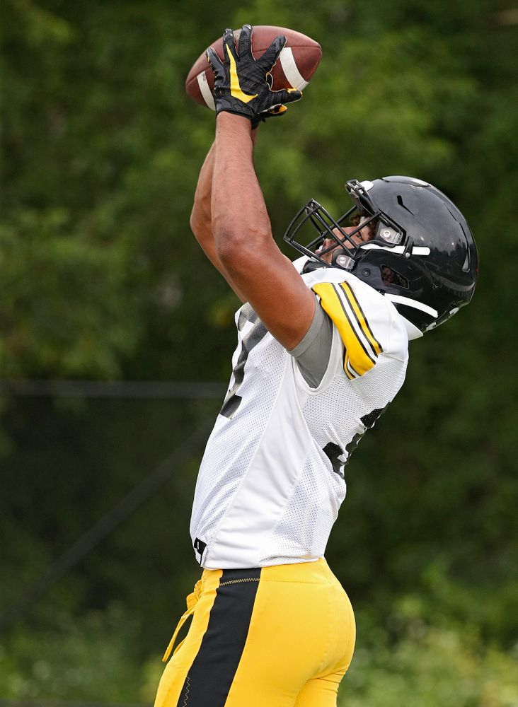 Iowa Hawkeyes defensive back Kyler Fisher (37) pulls in a ball durning Fall Camp Practice No. 17 at the Hansen Football Performance Center in Iowa City on Wednesday, Aug 21, 2019. (Stephen Mally/hawkeyesports.com)
