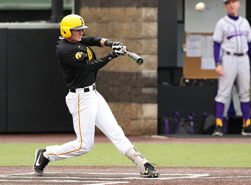 Iowa Hawkeyes second baseman Brendan Sher (2) hits a triple during the second inning of their game against Western Illinois at Duane Banks Field in Iowa City on Wednesday, May. 1, 2019. (Stephen Mally/hawkeyesports.com)