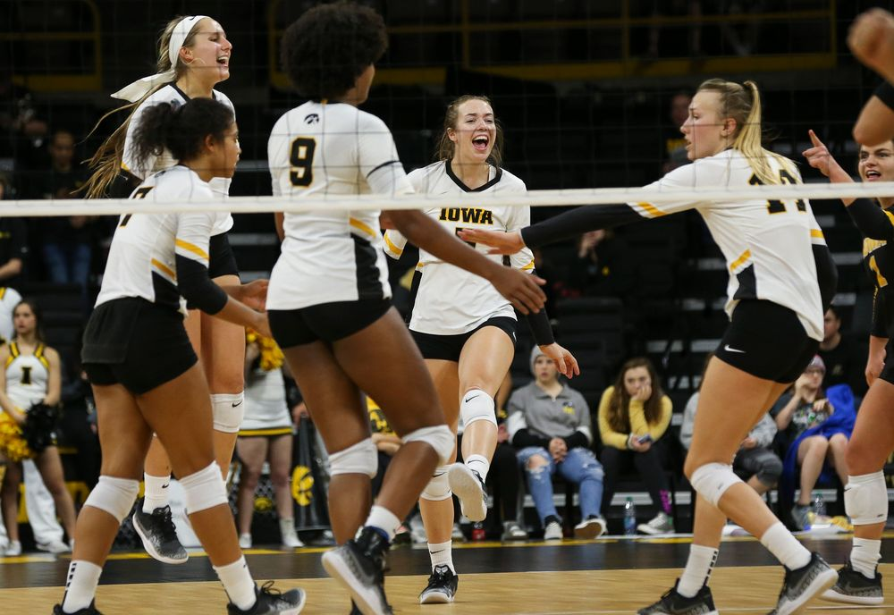 Iowa Hawkeyes outside hitter Meghan Buzzerio (5) reacts after winning a point during a game against Purdue at Carver-Hawkeye Arena on October 13, 2018. (Tork Mason/hawkeyesports.com)