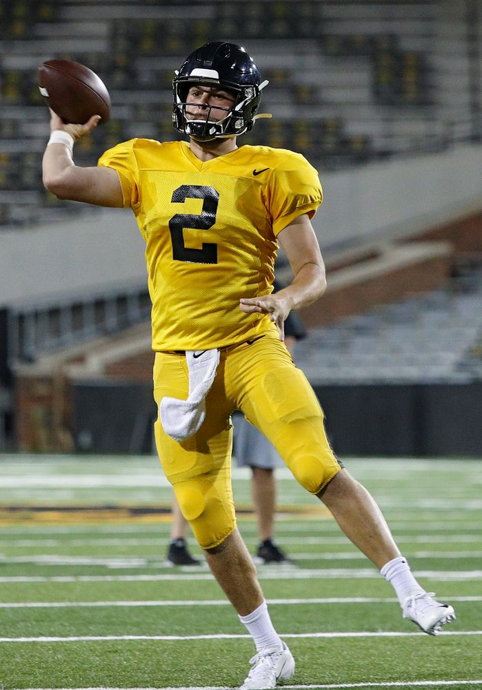 Iowa Hawkeyes quarterback Peyton Mansell (2) throws a pass on the run during Fall Camp Practice No. 12 at Kinnick Stadium in Iowa City on Thursday, Aug 15, 2019. (Stephen Mally/hawkeyesports.com)