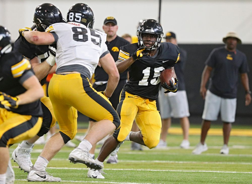Iowa Hawkeyes running back Tyler Goodson (15) on a run during Fall Camp Practice No. 6 at the Hansen Football Performance Center in Iowa City on Thursday, Aug 8, 2019. (Stephen Mally/hawkeyesports.com)