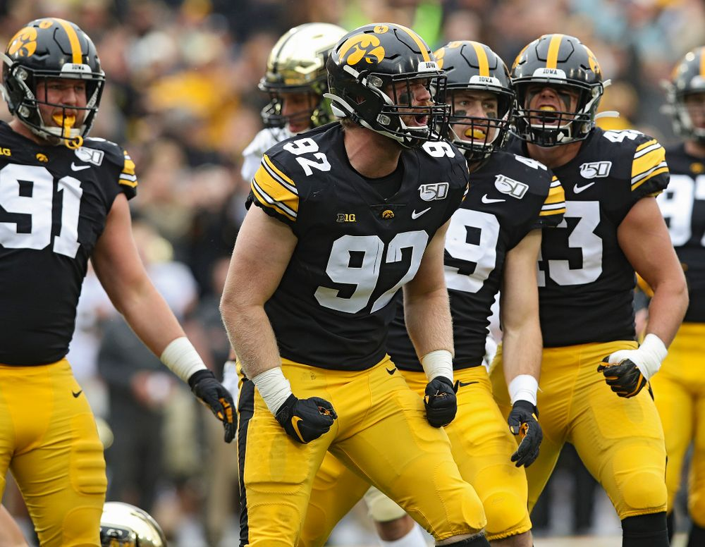 Iowa Hawkeyes defensive lineman John Waggoner (92) celebrates after a sack during the second quarter of their game at Kinnick Stadium in Iowa City on Saturday, Oct 19, 2019. (Stephen Mally/hawkeyesports.com)