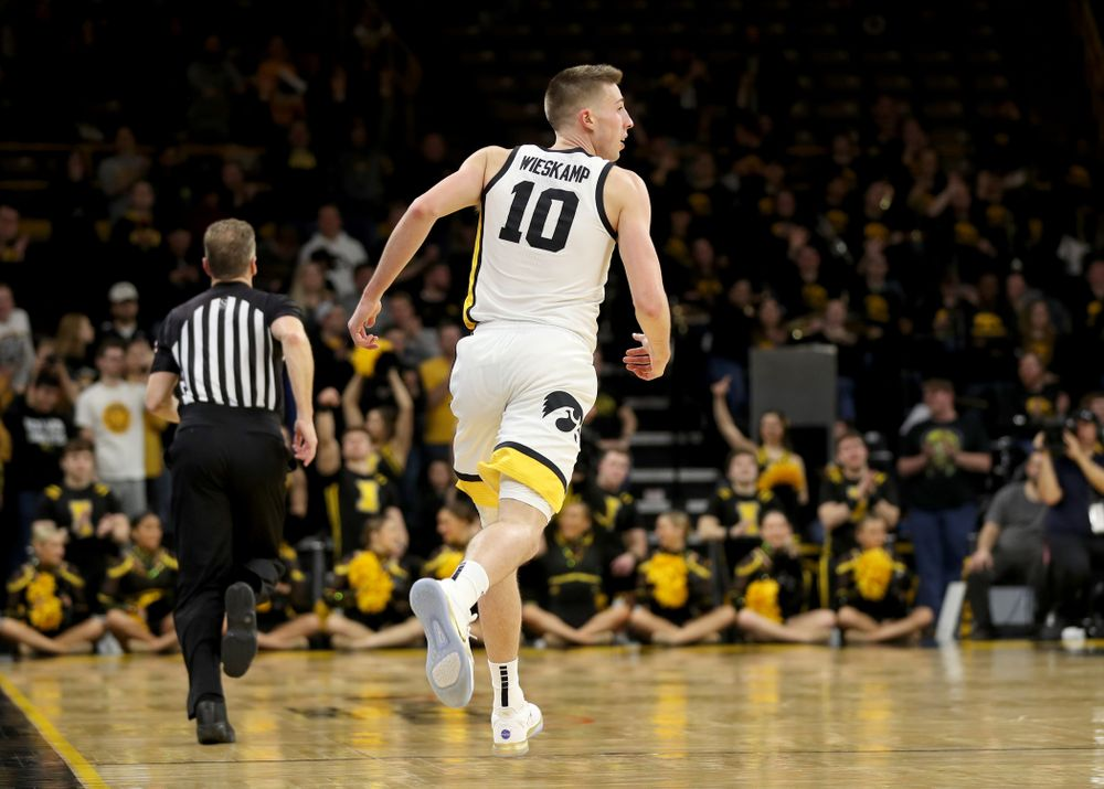 Iowa Hawkeyes guard Joe Wieskamp (10) celebrates a three point basket against the Maryland Terrapins Friday, January 10, 2020 at Carver-Hawkeye Arena. (Brian Ray/hawkeyesports.com)