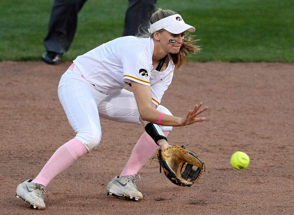 Iowa second baseman Aralee Bogar (2) fields a ground ball as they turn a double play during the fifth inning of their game against Iowa State at Pearl Field in Iowa City on Tuesday, Apr. 9, 2019. (Stephen Mally/hawkeyesports.com)