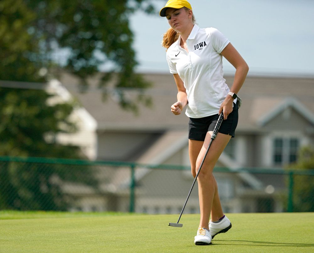 Iowa's Annalee Dannegger pumps her fist after making a putt during their dual against Northern Iowa at Pheasant Ridge Golf Course in Cedar Falls on Monday, Sep 2, 2019. (Stephen Mally/hawkeyesports.com)