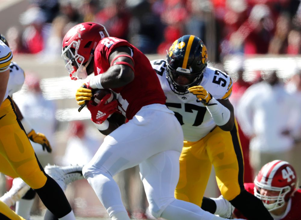 Iowa Hawkeyes defensive end Chauncey Golston (57) against the Indiana Hoosiers Saturday, October 13, 2018 at Memorial Stadium, in Bloomington, Ind. (Brian Ray/hawkeyesports.com)