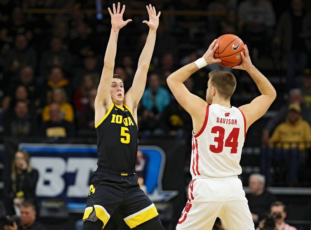 Iowa Hawkeyes guard CJ Fredrick (5) defends during the first half of their game at Carver-Hawkeye Arena in Iowa City on Monday, January 27, 2020. (Stephen Mally/hawkeyesports.com)