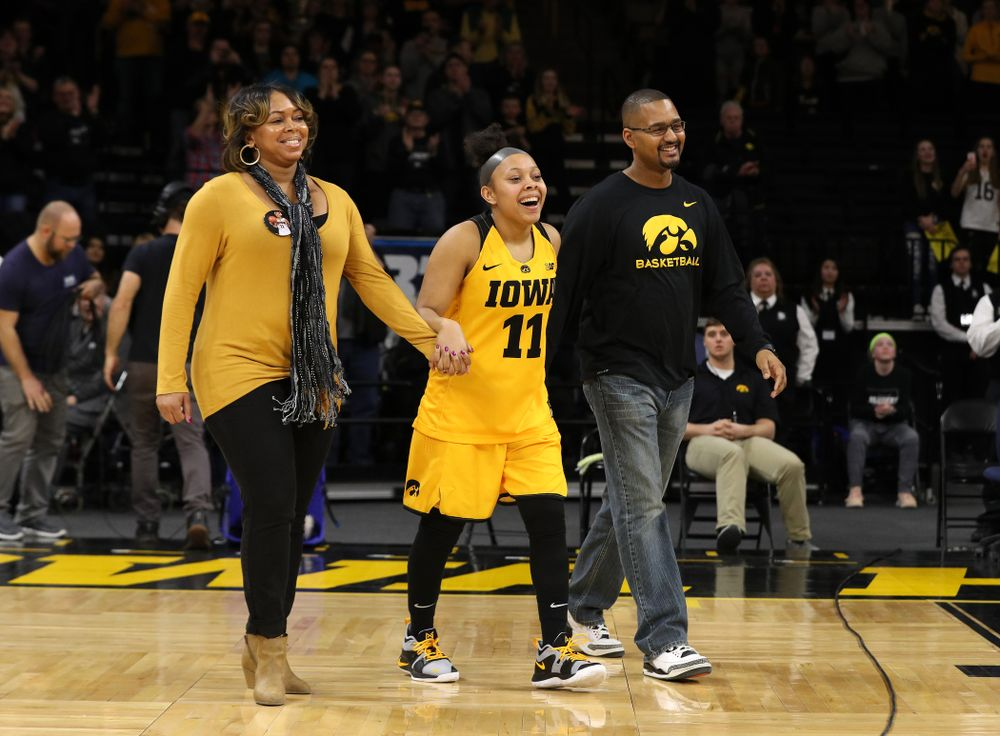 Iowa Hawkeyes guard Tania Davis (11) during senior day ceremonies following their game against the Northwestern Wildcats Sunday, March 3, 2019 at Carver-Hawkeye Arena. (Brian Ray/hawkeyesports.com)