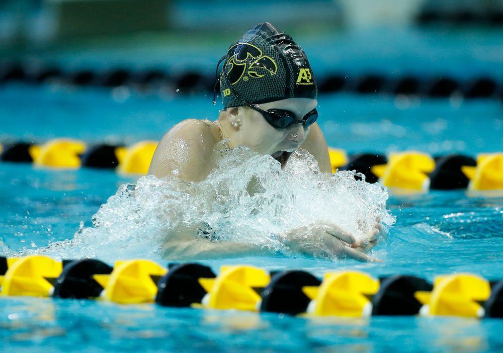 Saturday, January 13, 2018 (Brian Ray/hawkeyesports.com)Iowa's Shea Hoyt swims the breaststroke leg of the 200 yard medley relay