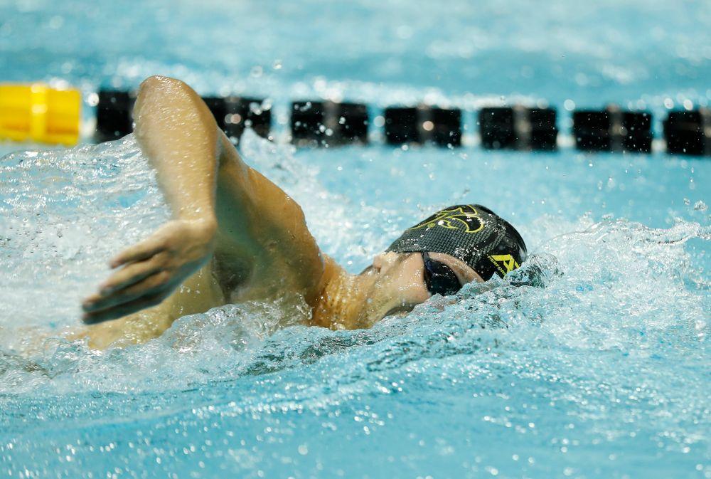 Iowa's Logan Samuelson swims the 1000 yard freestyle