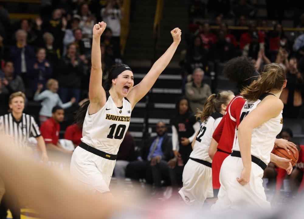 Iowa Hawkeyes forward Megan Gustafson (10) celebrates their victory over the Rutgers Scarlet Knights Wednesday, January 23, 2019 at Carver-Hawkeye Arena. (Brian Ray/hawkeyesports.com)