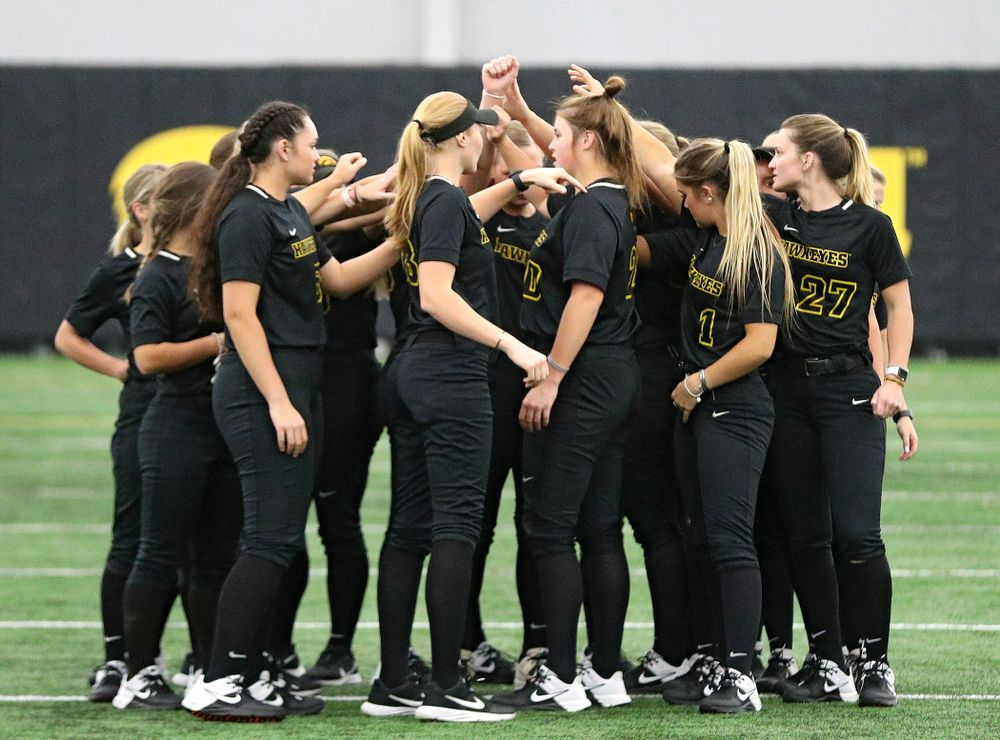 The Hawkeyes huddle before practice during Iowa Softball Media Day at the Hawkeye Tennis and Recreation Complex in Iowa City on Thursday, January 30, 2020. (Stephen Mally/hawkeyesports.com)