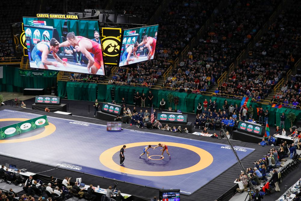 The gold medal match of the United World Wrestling Freestyle World Cup against Azerbaijan Sunday, April 8, 2018 at Carver-Hawkeye Arena. (Brian Ray/hawkeyesports.com)