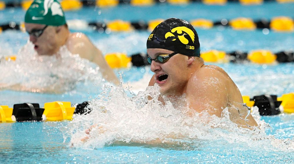 Iowa's Will Myhre swims the men's 100-yard breaststroke event during their meet against Michigan State and Northern Iowa at the Campus Recreation and Wellness Center in Iowa City on Friday, Oct 4, 2019. (Stephen Mally/hawkeyesports.com)