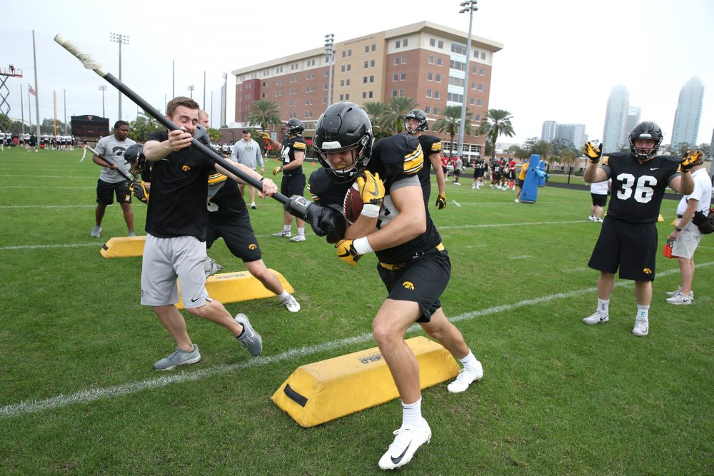 Iowa Hawkeyes tight end T.J. Hockenson (38) as the team prepares for the Outback Bowl Saturday, December 29, 2018 at Tampa University. (Brian Ray/hawkeyesports.com)