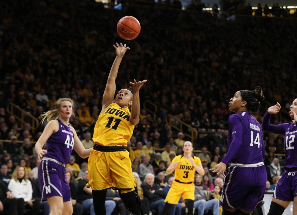 Iowa Hawkeyes guard Tania Davis (11) against the Northwestern Wildcats Sunday, March 3, 2019 at Carver-Hawkeye Arena. (Brian Ray/hawkeyesports.com)