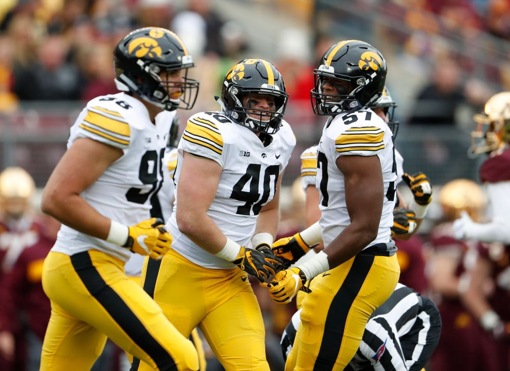 Iowa Hawkeyes defensive end Parker Hesse (40) against the Minnesota Golden Gophers Saturday, October 6, 2018 at TCF Bank Stadium. (Brian Ray/hawkeyesports.com)