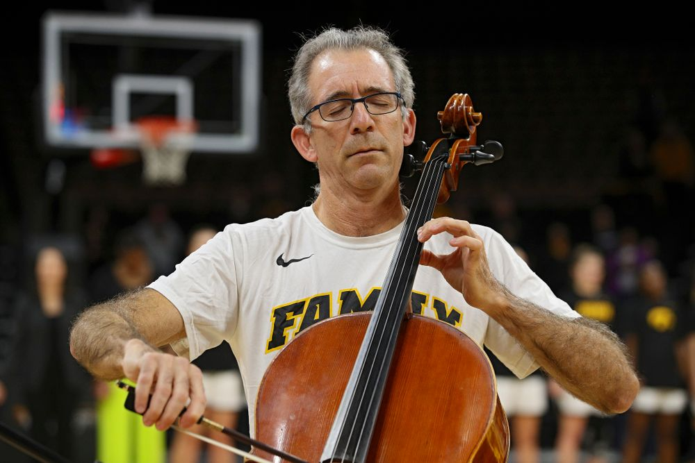 Anthony Arnone performs the National Anthem on his cello before Iowa's overtime win against Princeton at Carver-Hawkeye Arena in Iowa City on Wednesday, Nov 20, 2019. (Stephen Mally/hawkeyesports.com)