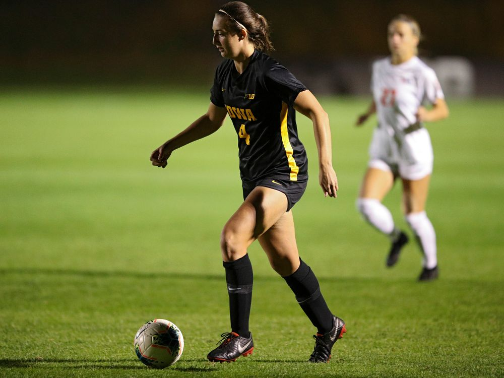 Iowa forward Kaleigh Haus (4) moves with the ball during the first half of their match against Illinois at the Iowa Soccer Complex in Iowa City on Thursday, Sep 26, 2019. (Stephen Mally/hawkeyesports.com)