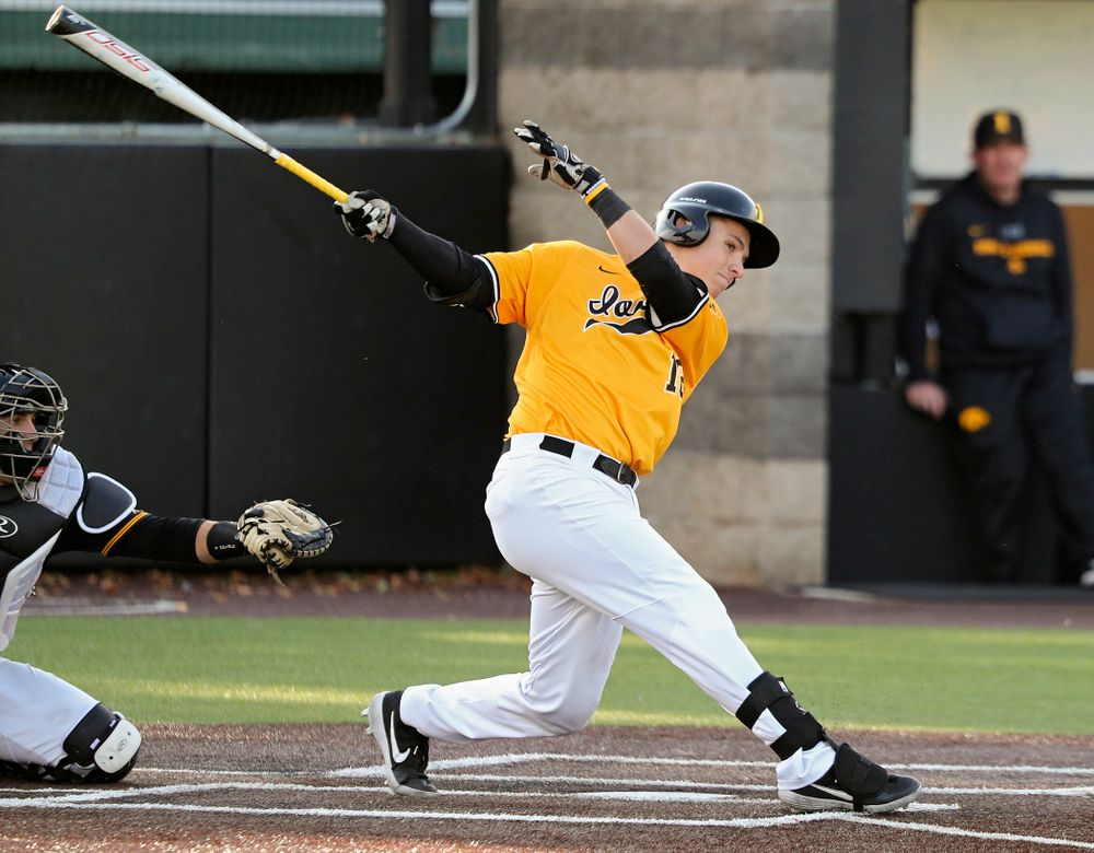 Iowa catcher Tyler Snep (16) drives a pitch for a hit during the fourth inning of the first game of the Black and Gold Fall World Series at Duane Banks Field in Iowa City on Tuesday, Oct 15, 2019. (Stephen Mally/hawkeyesports.com)