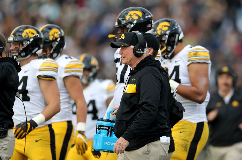 Iowa Hawkeyes defensive line coach Reese Morgan against the Purdue Boilermakers Saturday, November 3, 2018 Ross Ade Stadium in West Lafayette, Ind. (Brian Ray/hawkeyesports.com)