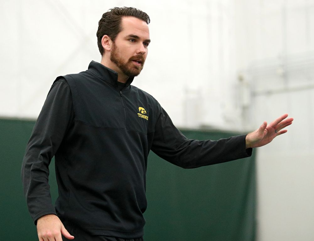 Iowa's Mellecker Family head men's tennis coach Ross Wilson talks during their match against Marquette at the Hawkeye Tennis and Recreation Complex in Iowa City on Saturday, January 25, 2020. (Stephen Mally/hawkeyesports.com)