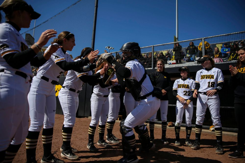 Iowa catcher Abby Lien (9) at game 3 vs Northwestern on Sunday, March 31, 2019 at Bob Pearl Field. (Lily Smith/hawkeyesports.com)