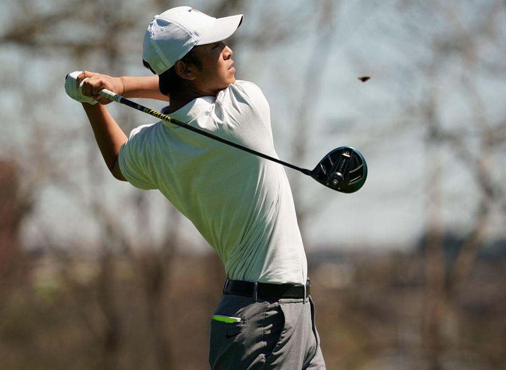 Iowa's Joe Kim tees off during the first round of the Hawkeye Invitational at Finkbine Golf Course in Iowa City on Saturday, Apr. 20, 2019. (Stephen Mally/hawkeyesports.com)