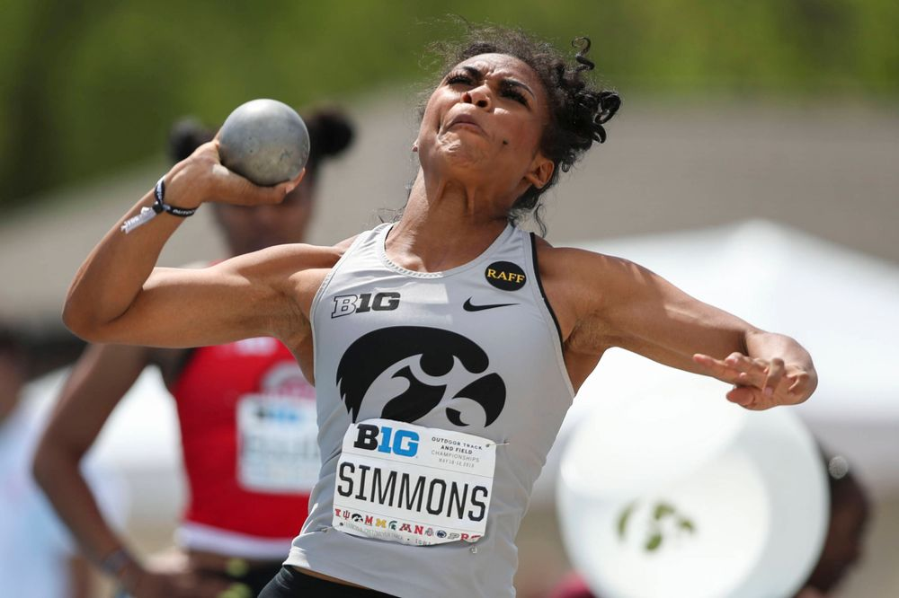 Iowa's Tria Simmons during the women's shot put at the Big Ten Outdoor Track and Field Championships at Francis X. Cretzmeyer Track on Friday, May 10, 2019. (Lily Smith/hawkeyesports.com)