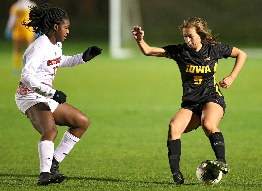Iowa defender Riley Whitaker (5) moves with the ball during the second half of their match at the Iowa Soccer Complex in Iowa City on Friday, Oct 11, 2019. (Stephen Mally/hawkeyesports.com)