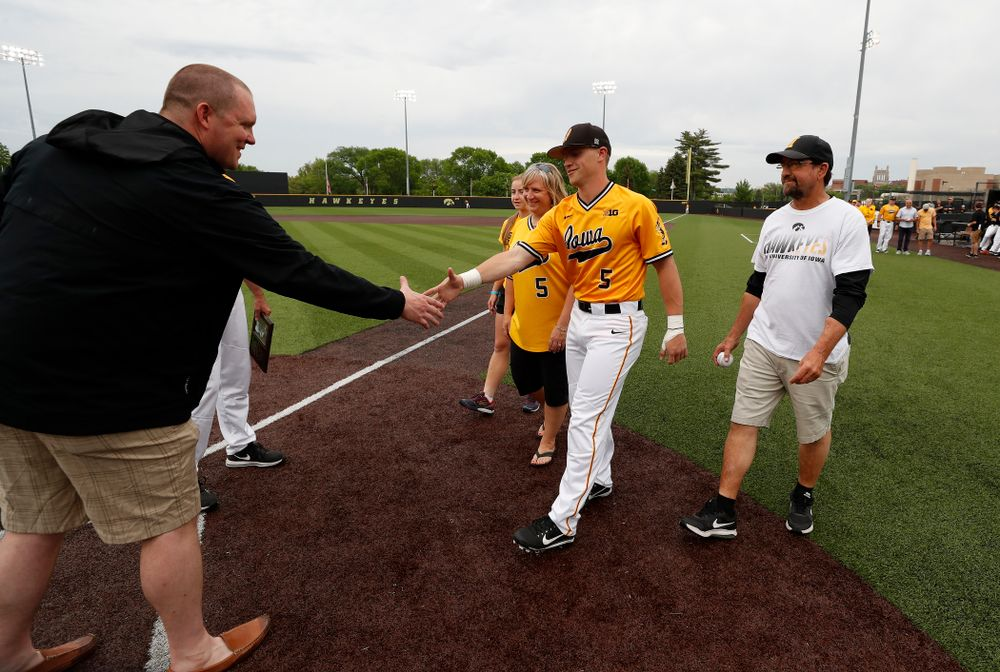 Iowa Hawkeyes catcher Tyler Cropley (5) during senior day activities before their game against the Penn State Nittany Lions Saturday, May 19, 2018 at Duane Banks Field. (Brian Ray/hawkeyesports.com)