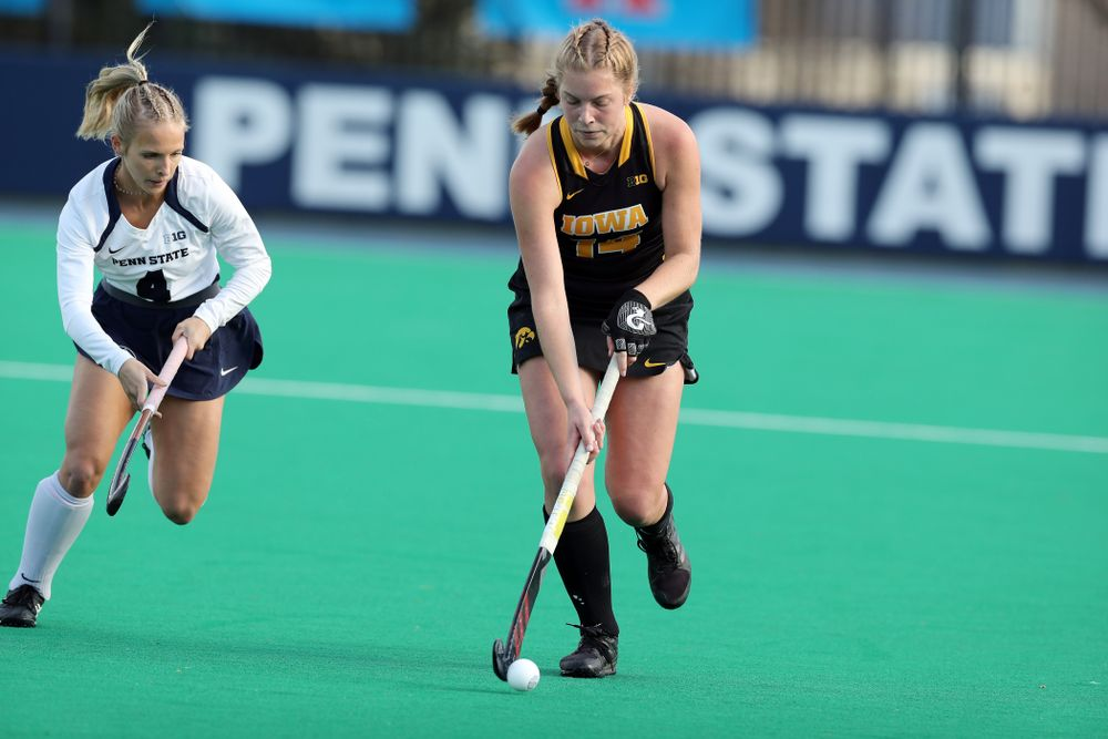 Iowa Hawkeyes Lokke Stribos (14) against Penn State in the 2019 Big Ten Field Hockey Tournament Championship Game Sunday, November 10, 2019 in State College. (Brian Ray/hawkeyesports.com)