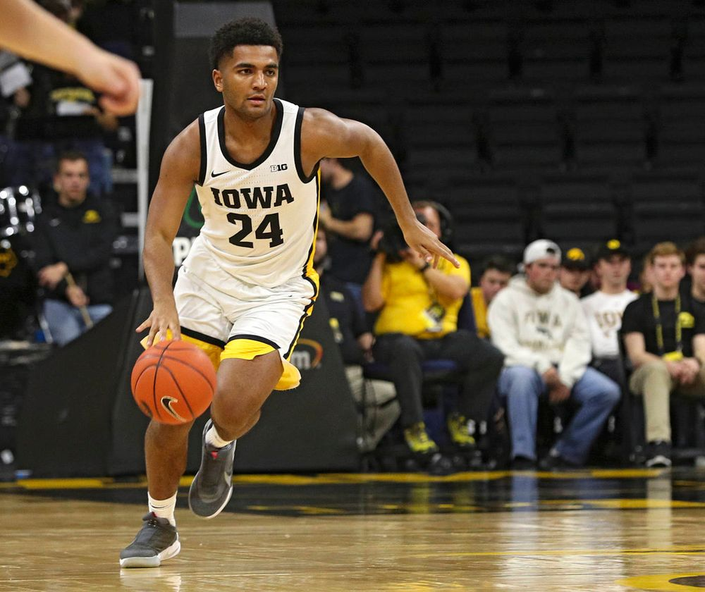 Iowa Hawkeyes guard Nicolas Hobbs (24) brings the ball down the court during the second half of their exhibition game against Lindsey Wilson College at Carver-Hawkeye Arena in Iowa City on Monday, Nov 4, 2019. (Stephen Mally/hawkeyesports.com)