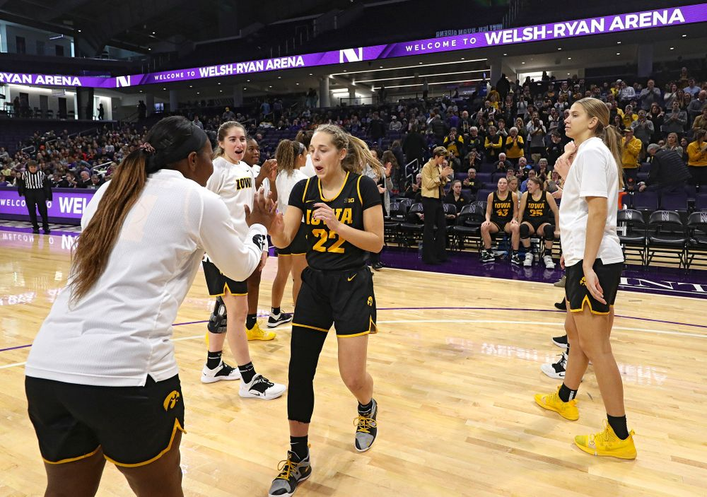 Iowa Hawkeyes guard Kathleen Doyle (22) is introduced before their game at Welsh-Ryan Arena in Evanston, Ill. on Sunday, January 5, 2020. (Stephen Mally/hawkeyesports.com)