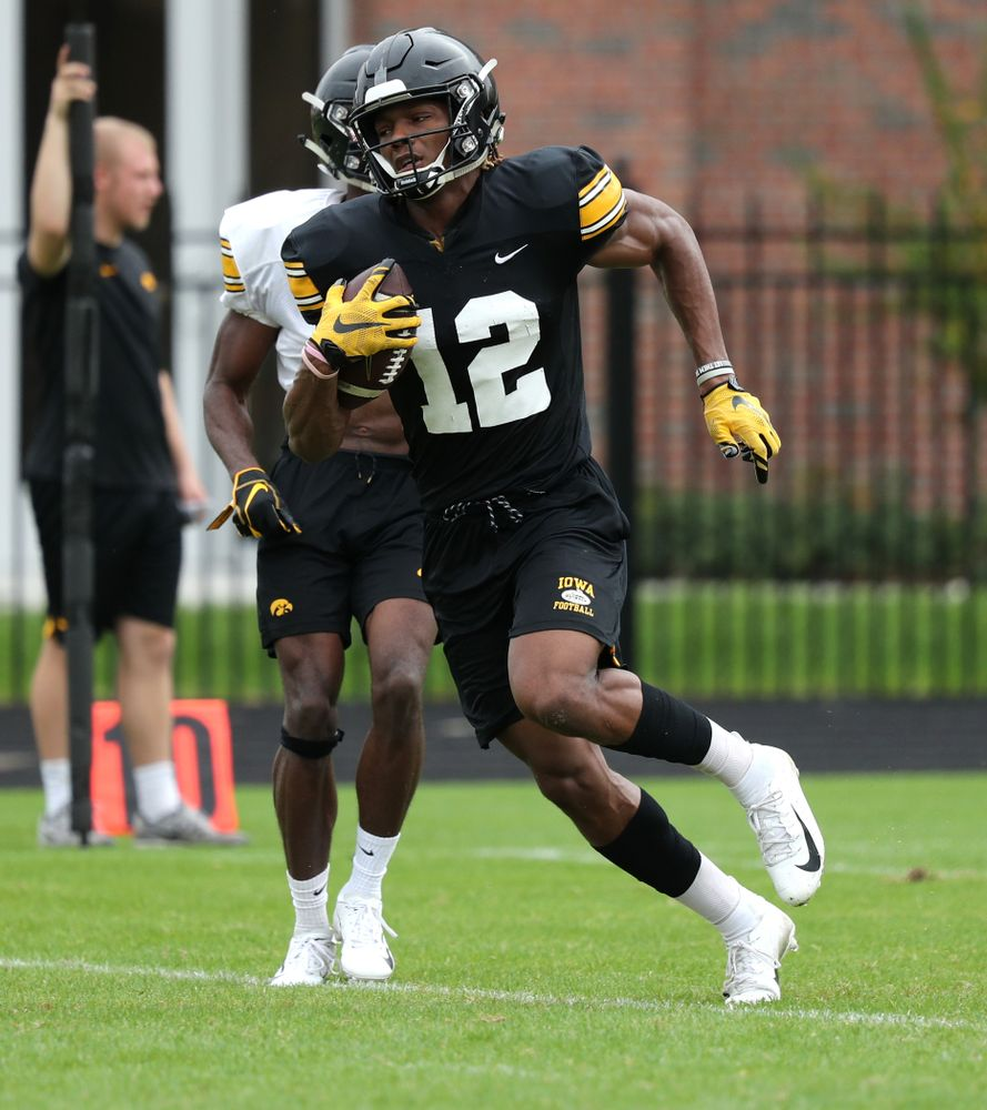 Iowa Hawkeyes wide receiver Brandon Smith (12) as the team prepares for the Outback Bowl Saturday, December 29, 2018 at Tampa University. (Brian Ray/hawkeyesports.com)