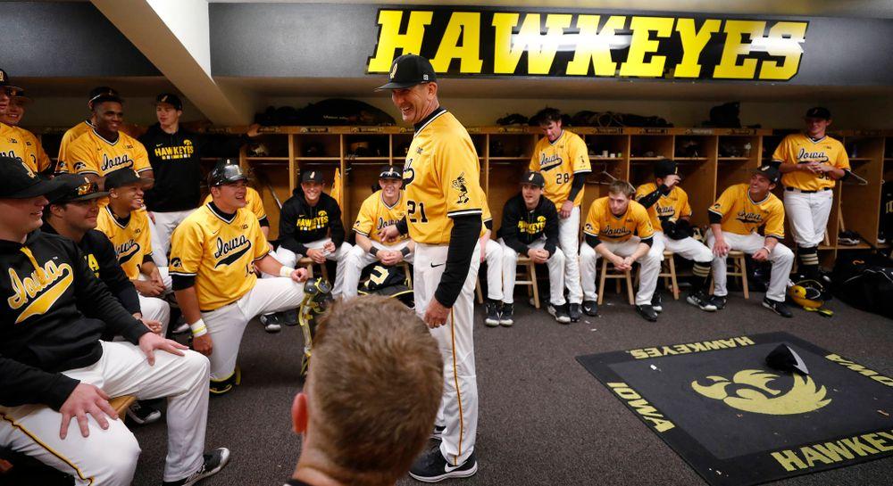 Iowa Hawkeyes head coach Rick Heller against the Michigan Wolverines Sunday, April 29, 2018 at Duane Banks Field. (Brian Ray/hawkeyesports.com)
