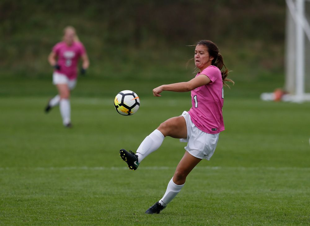 Iowa Hawkeyes Emma Tokuyama (21) against Michigan Sunday, October 14, 2018 at the Iowa Soccer Complex. (Brian Ray/hawkeyesports.com)