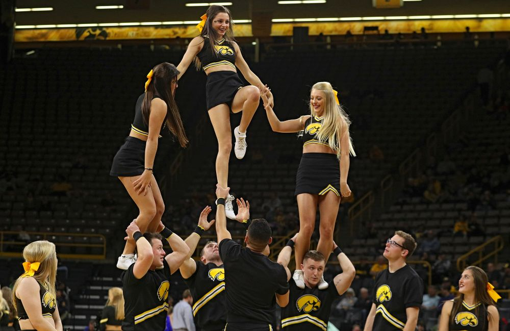 Iowa Cheerleaders perform during the second half of their exhibition game against Lindsey Wilson College at Carver-Hawkeye Arena in Iowa City on Monday, Nov 4, 2019. (Stephen Mally/hawkeyesports.com)
