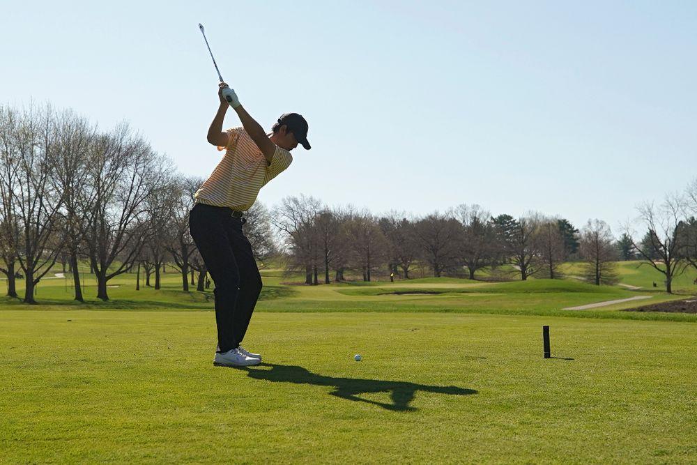 Iowa's Joe Kim tees off during the third round of the Hawkeye Invitational at Finkbine Golf Course in Iowa City on Sunday, Apr. 21, 2019. (Stephen Mally/hawkeyesports.com)