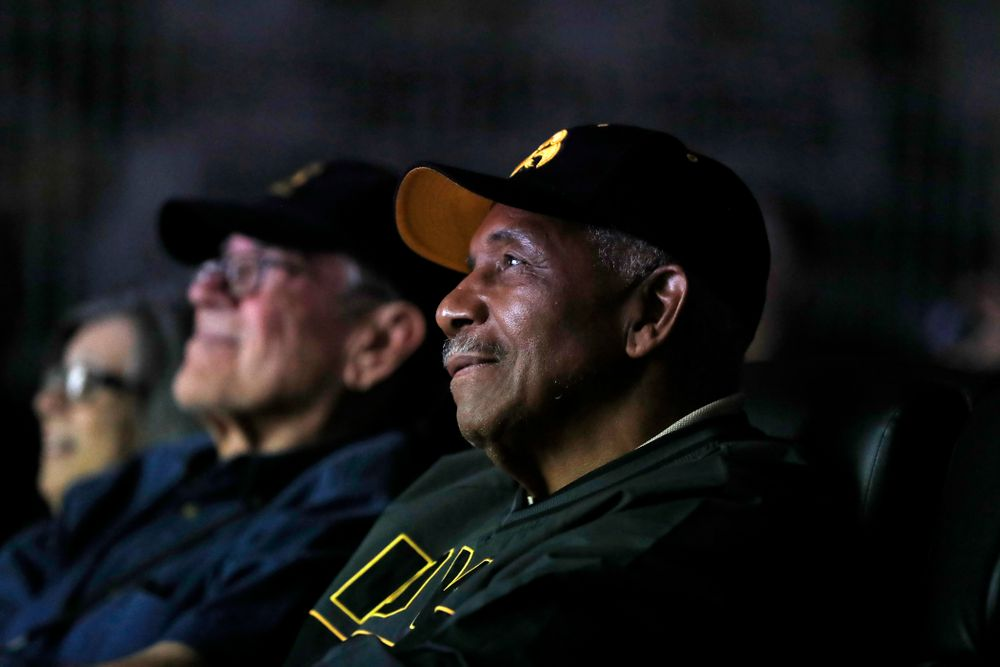 1958 National Championship Team running back Willie Fleming watches highlights from the 1958 season at the Hansen Football Performance  Center  Friday, September 21, 2018. (Brian Ray/hawkeyesports.com)