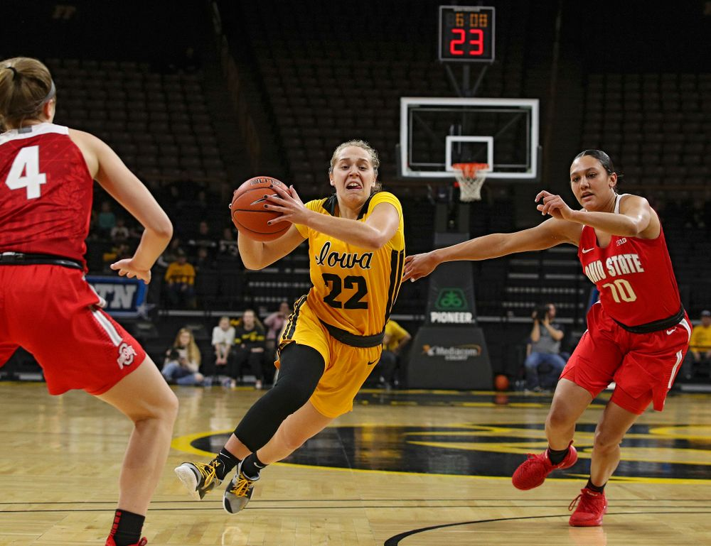 Iowa Hawkeyes guard Kathleen Doyle (22) drives with the ball during the first quarter of their game at Carver-Hawkeye Arena in Iowa City on Thursday, January 23, 2020. (Stephen Mally/hawkeyesports.com)