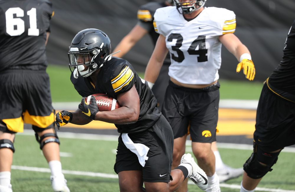 Iowa Hawkeyes running back Mekhi Sargent (10) during Fall Camp Practice No. 4 Monday, August 5, 2019 at the Ronald D. and Margaret L. Kenyon Football Practice Facility. (Brian Ray/hawkeyesports.com)