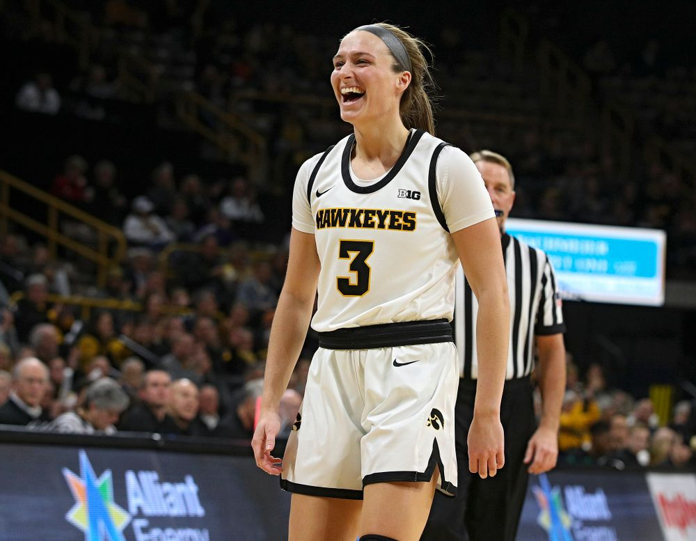 Iowa Hawkeyes guard Makenzie Meyer (3) smiles during the second quarter of the game at Carver-Hawkeye Arena in Iowa City on Thursday, February 6, 2020. (Stephen Mally/hawkeyesports.com)