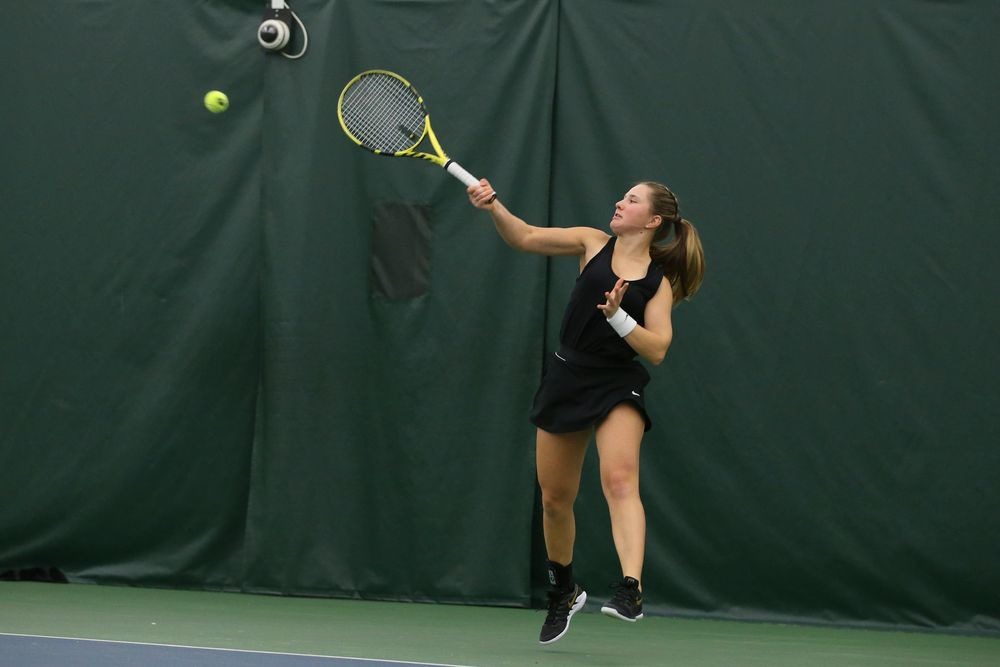 Iowa's Danielle Burich returns a ball during the Iowa women's tennis meet vs UNI  on Saturday, February 29, 2020 at the Hawkeye Tennis and Recreation Complex. (Lily Smith/hawkeyesports.com)